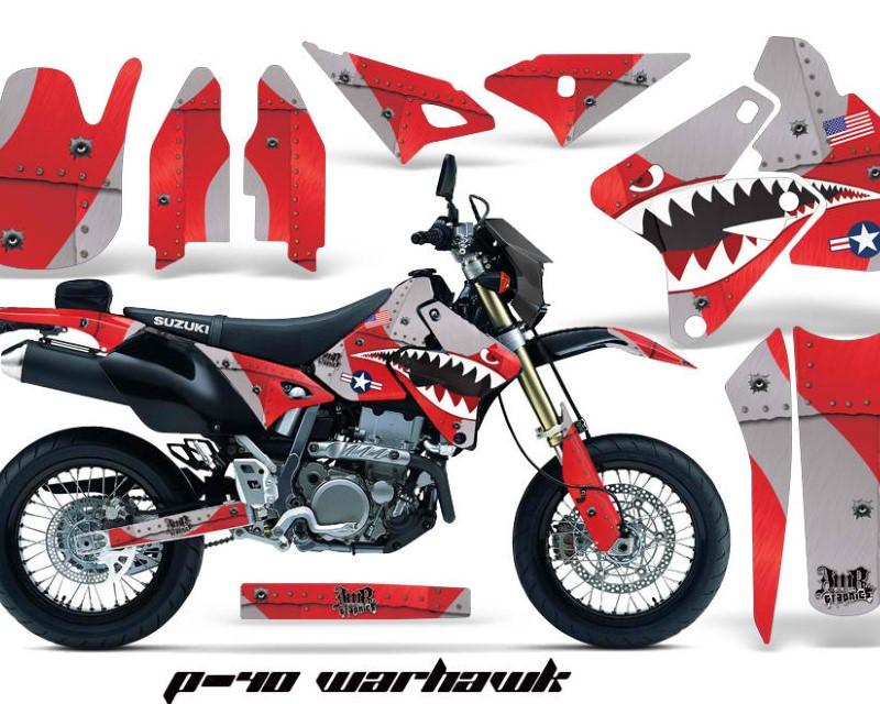 AMR Racing Dirt Bike Graphics Kit Decal Sticker Wrap For Suzuki DRZ400SM 2000-2018áWARHAWK RED