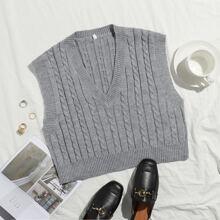 Cable Knit V-neck Sweater Vest