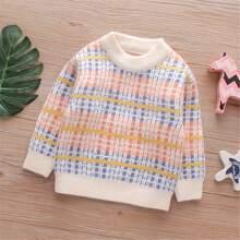 Pullover mit Karo Muster und sehr tief angesetzter Schulterpartie