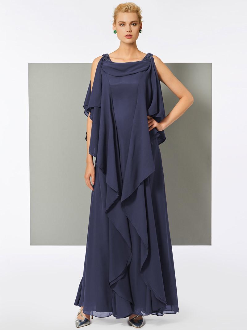 Ericdress A Line Scoop Neck Chiffon Long Evening Dress