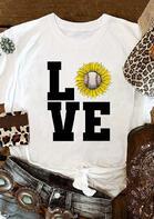 Sunflower Baseball Love T-Shirt Tee - White