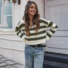 Pullover mit Streifen und V-Kragen