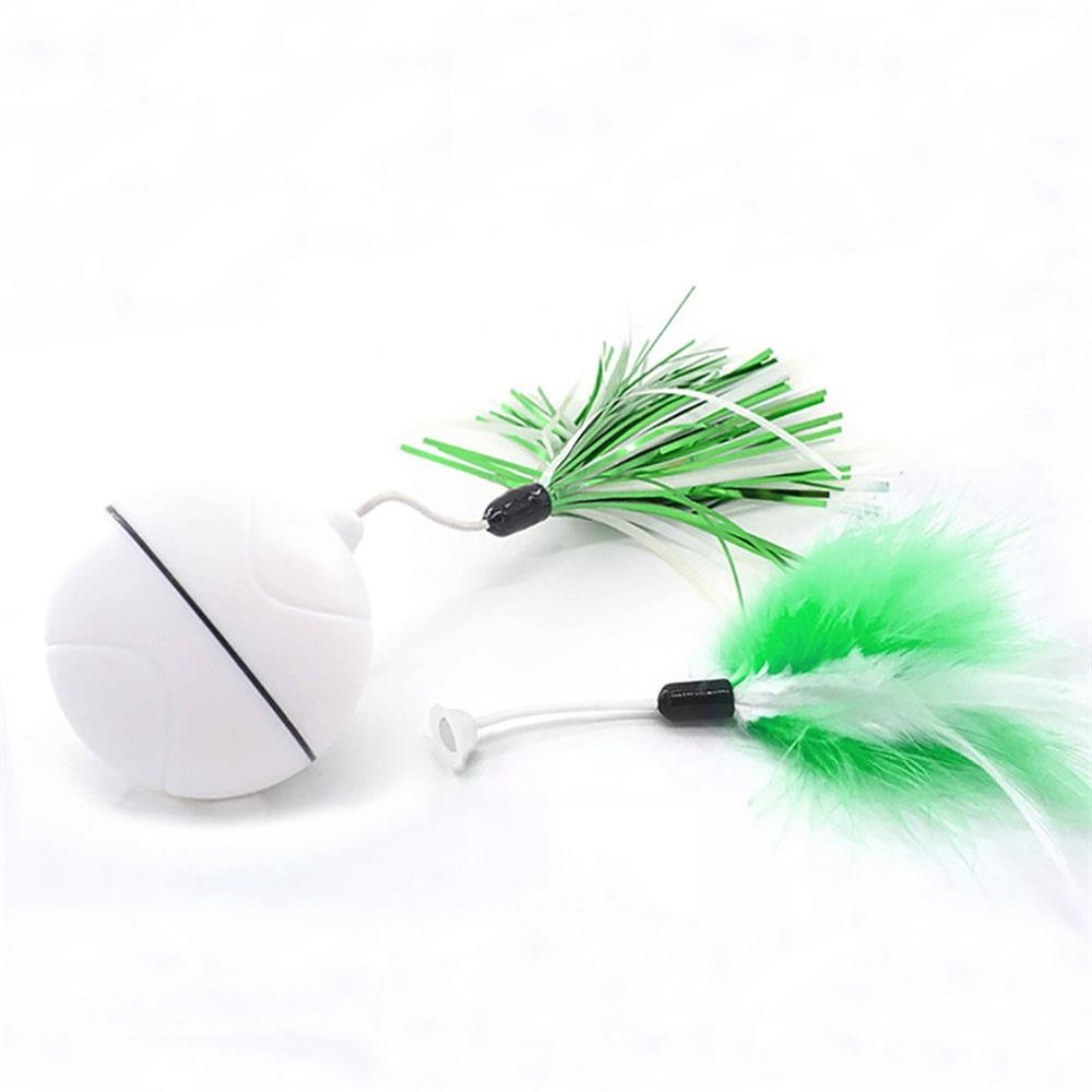 Automatic Cat Teasing LED Flash Rolling Ball for Dogs Cat Toys With 2 pcs Cat Teasing Sticks - White