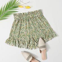 Paperbag Waist Ruffle Hem Ditsy Floral Shorts