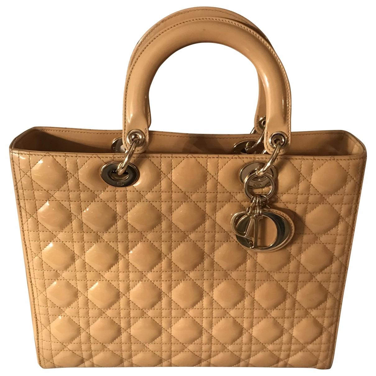 Dior - Sac a main Lady Dior pour femme en cuir verni - beige