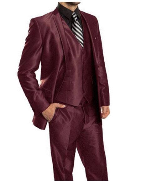 mens Single Breasted Sharkskin Burgundy vested suit