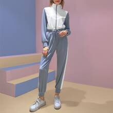 Colorblock Jacket With Contrast Sideseam Drawstring Joggers