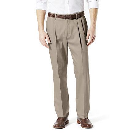 Dockers Men's Classic Fit Signature Khaki Lux Cotton Stretch Pants - Pleated D3, 34 34, Beige