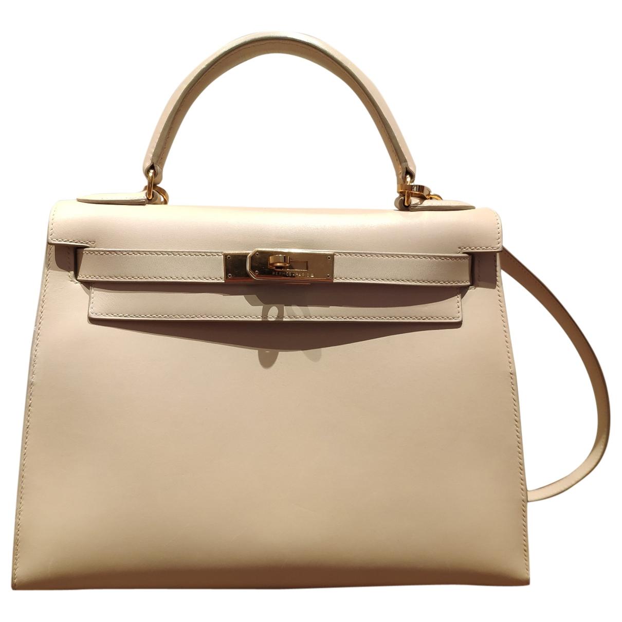 Hermes Kelly 28 Handtasche in  Beige Leder