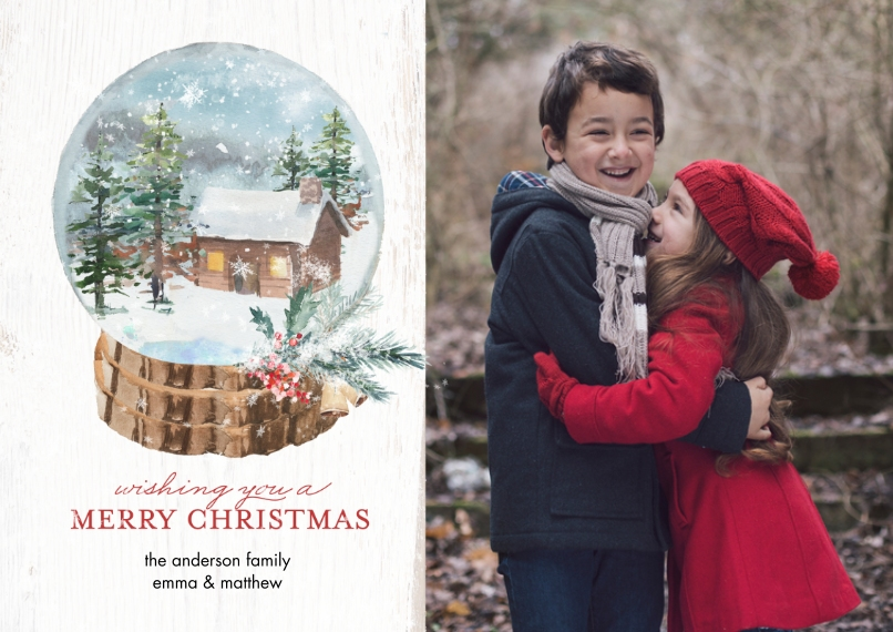 Christmas Photo Cards 5x7 Cards, Premium Cardstock 120lb, Card & Stationery -Christmas Winter Snowglobe by Tumbalina