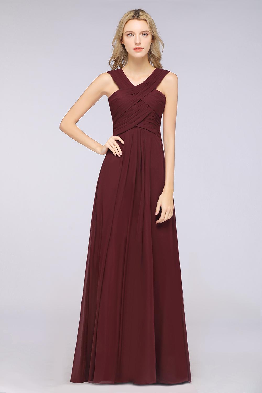 BMbridal Elegant Chiffon V-Neck Straps Crisscross Burgundy Bridesmaid Dress with Ruffle