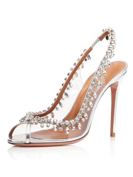 Milanoo Women Clear Heels Transparent Peep Toe Rhinestones High Heel Party Prom Evening Shoes