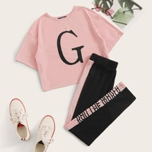 Letter Graphic Crop Tee and Contrast Sideseam Pants PJ Set