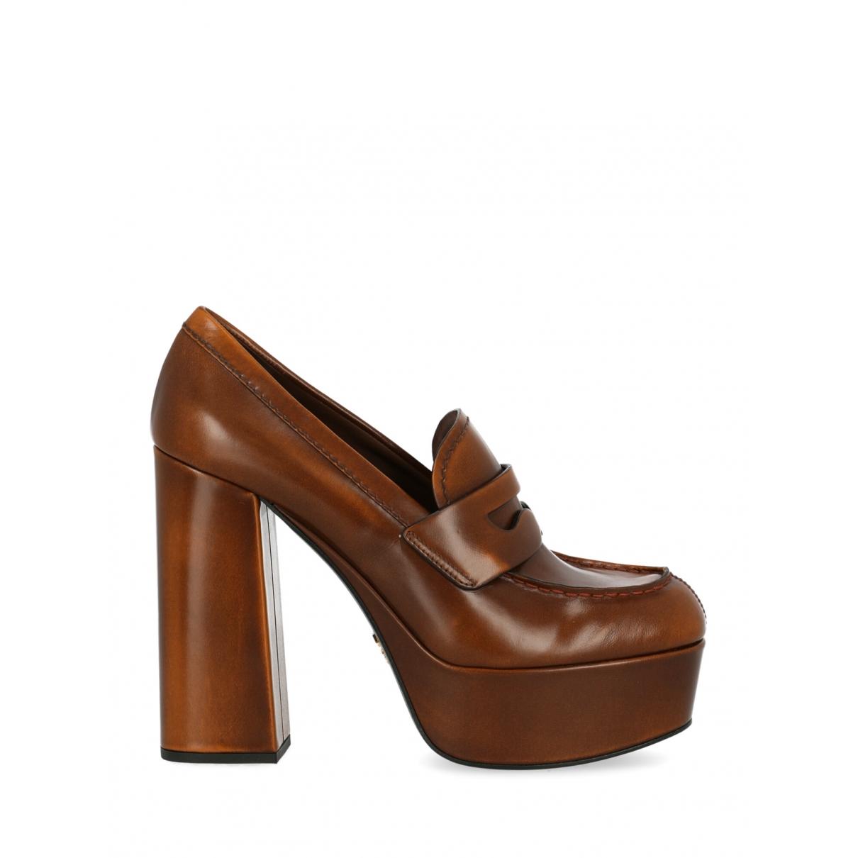 Prada \N Brown Leather Heels for Women 38 IT