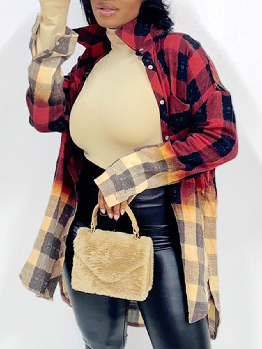 LW Lovely Street Plaid Patchwork Loose Red Blouse