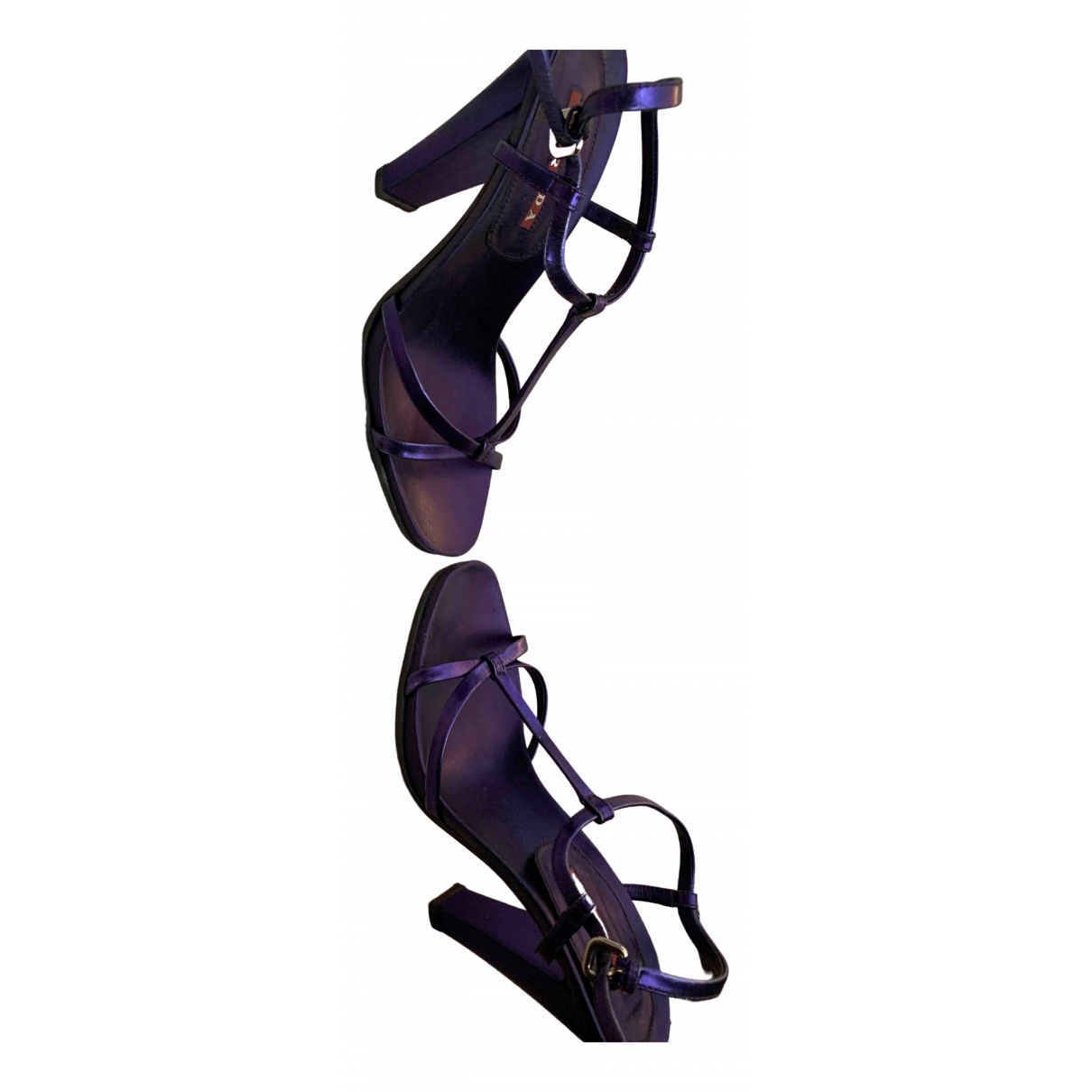 Prada Lightning Purple Patent leather Sandals for Women 38 EU