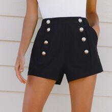 High-Rise Buttoned Slant Pocket Shorts