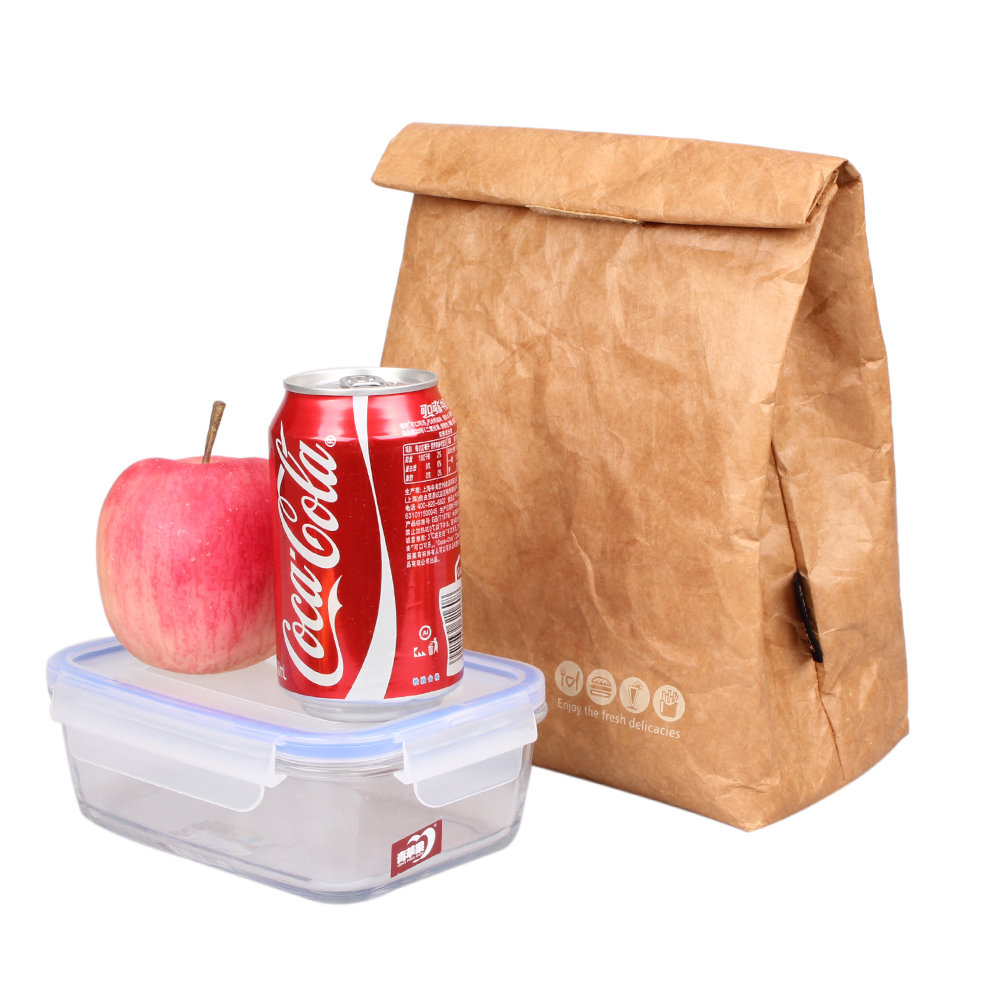 6L Brown Paper Lunch Bag Reusable Box Sack Durable Insulated Thermal Kraft Paper Bag Snack