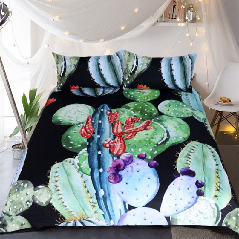 3D Colorful Cactus Printed Polyester 3-Piece Black Bedding Sets/Duvet Covers