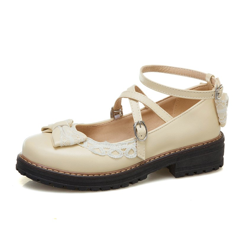 Ericdress Line-Style Buckle Lace Round Toe 3.5cm Thin Shoes