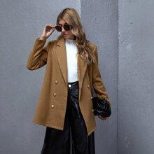 Zweireihiger Mantel mit eingekerbtem Kragen