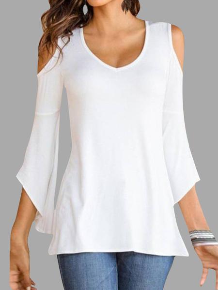 Yoins White V-neck Cold Shoulder Flared Sleeves T-shirt