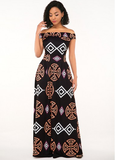 Rosewe Women Black African Printed Off The Shoulder Maxi Evening Party Dress Short Sleeve High Waisted Elegant Zipper Closure Cocktail Party - XS
