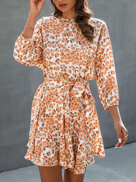 Milanoo Summer Dress Blue Jewel Neck Printed Leopard Polyester Beach Dress