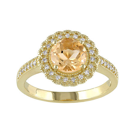 Genuine Citrine and 1/7 CT. T.W. Diamond Ring, 6 , No Color Family