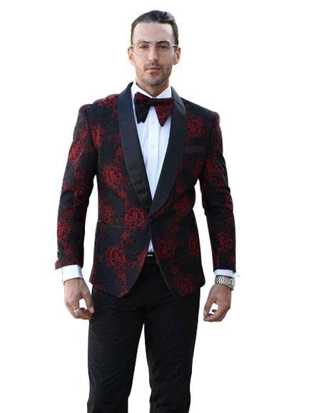 Mens Floral Pattern Paisley Sport Coat Jacket Tuxedo Black Blazer