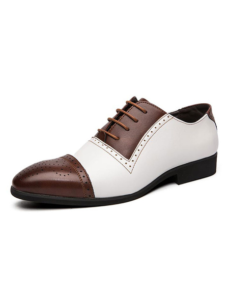 Milanoo Dress Shoes For Man Round Toe Strap Adjustable Color Block White PU Leather Party Shoes