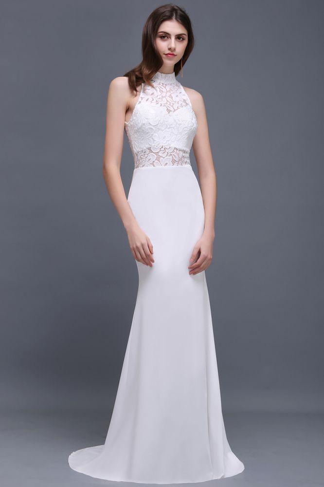 ALANNA   Vestidos de novia blanco de encaje con cuello alto de sirena con volantes