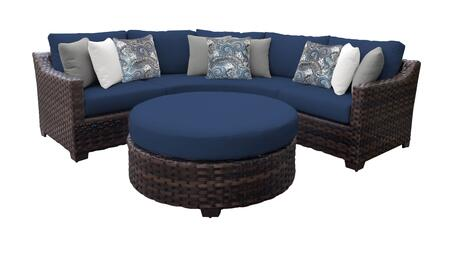 RIVER-04b-NAVY Kathy Ireland Homes and Gardens River Brook 4-Piece Wicker Patio Set 04b - 1 Set of Truffle and 1 Set of Midnight