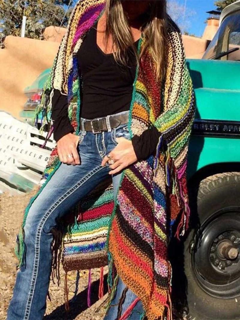 Ericdress Regular Print Lace-Up Mid-Length Slim Women's Sweater