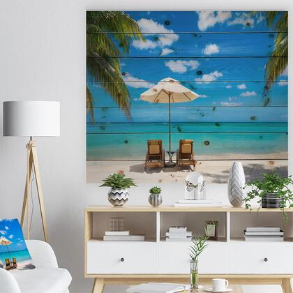 WD9446-40-30 Turquoise Beach With Chairs - Seashore Photo Print On Natural Pine Wood -