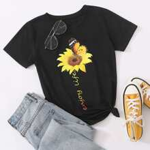Sunflower & Butterfly Print Tee