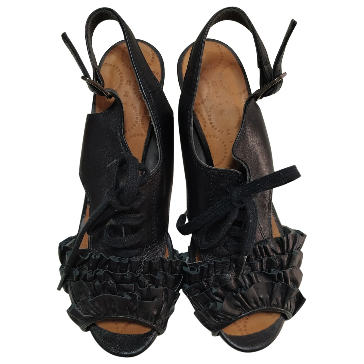 Chie Mihara \N Black Leather Sandals for Women 39.5 EU