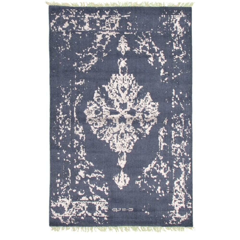 ECARPETGALLERY  Hand-knotted La Seda Slate Blue Silk, Wool Rug - 3'11 x 5'11 (Slate Blue - 3'11 x 5'11)