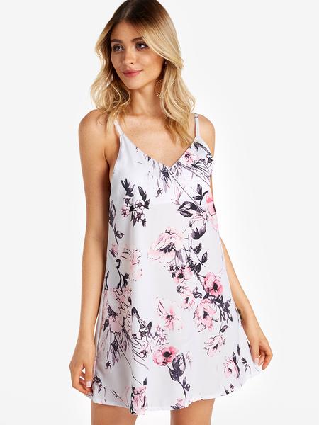 Yoins White Random Floral Print V-neck Mini Dress