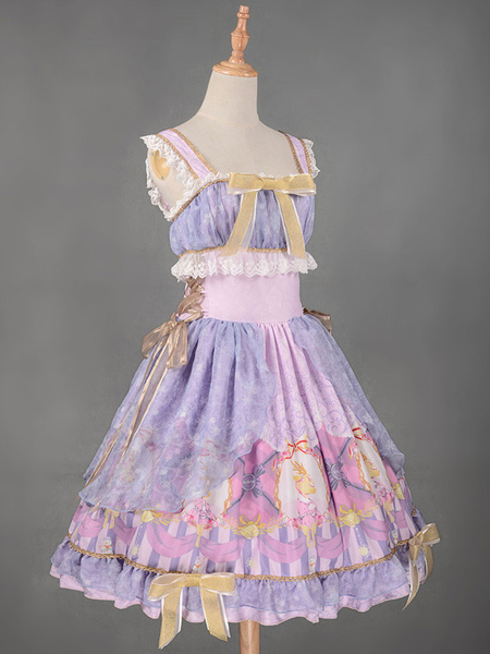 Milanoo Sweet Lolita Dress JSK Christmas Deer Royal Blue Printed Ruffle Bow Lace Up Tunic Lolita Jumper Skirt Original Design