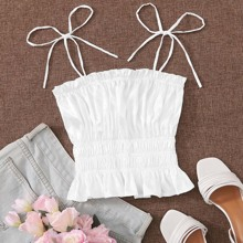 Shirred Ruffle Hem Knotted Cami Top