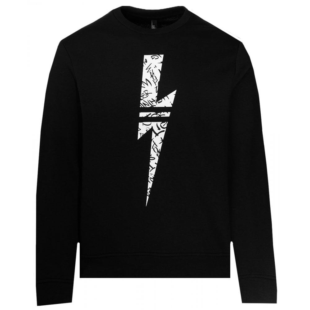 Neil Barrett Graffiti Bolt Sweater Colour: BLACK, Size: LARGE