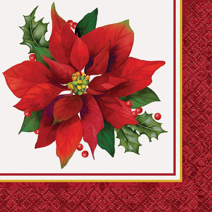 Holly Poinsettia Christmas Holiday Paper Beverage Napkins for Home Party Decor, 16ct