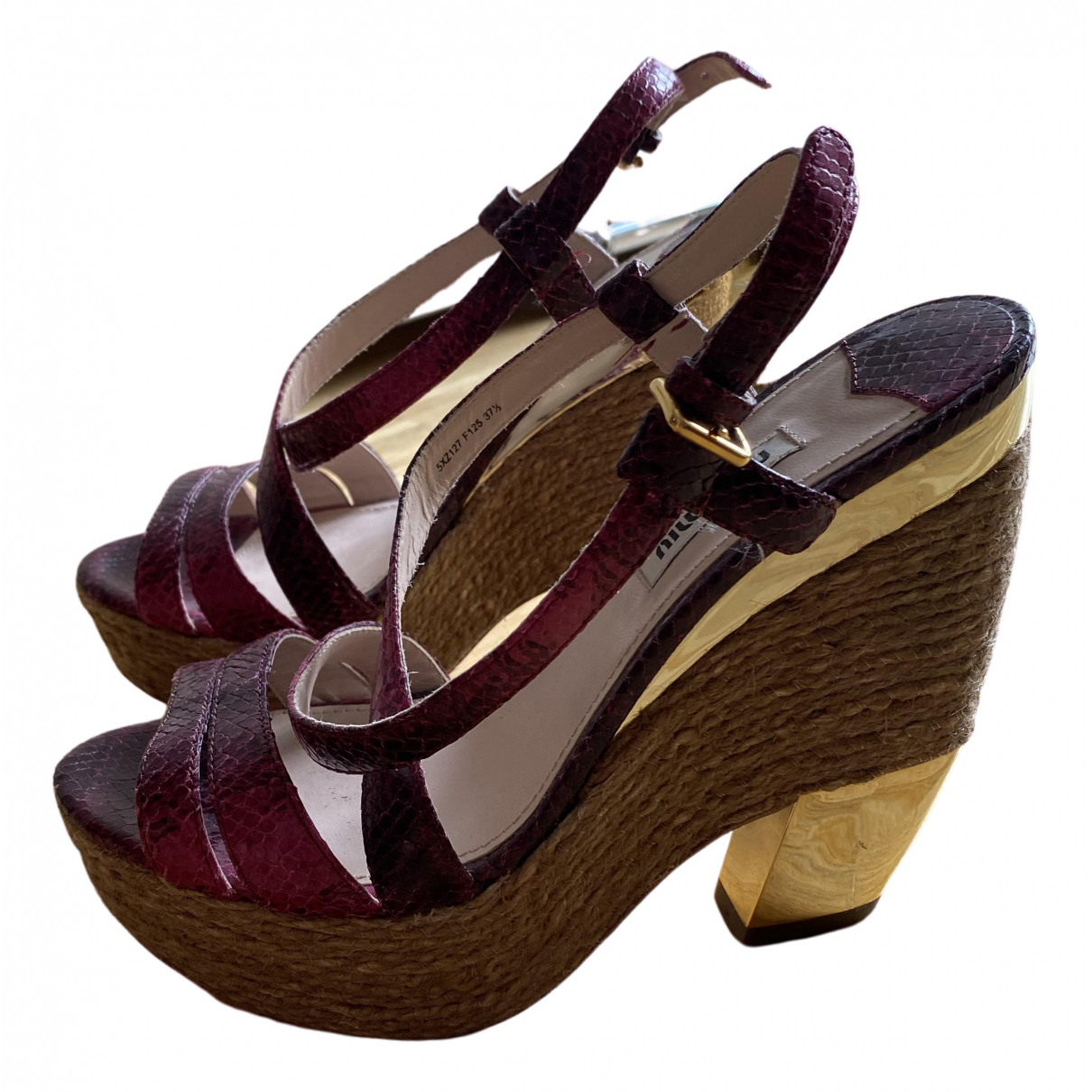 Miu Miu \N Pink Exotic leathers Sandals for Women 37.5 EU