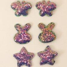 6pcs Toddler Girls Sequin Star Decor Hair Clip