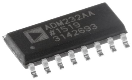 Analog Devices ADM232AARNZ, Line Transceiver, RS-232 2-TX 2-RX, 5 V, 16-Pin SOIC (5)