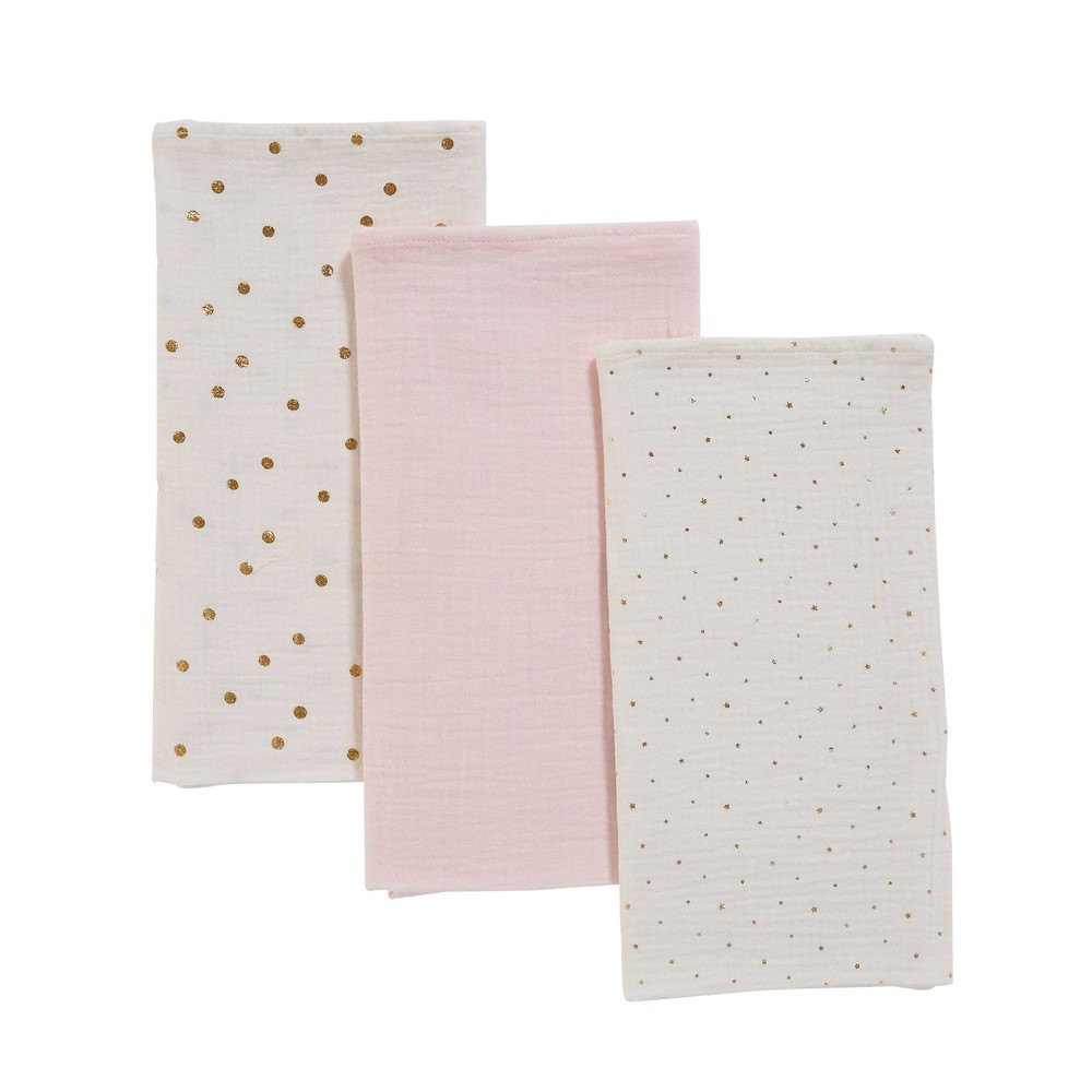 3 Babywindeln aus weiss-rosa Baumwolle