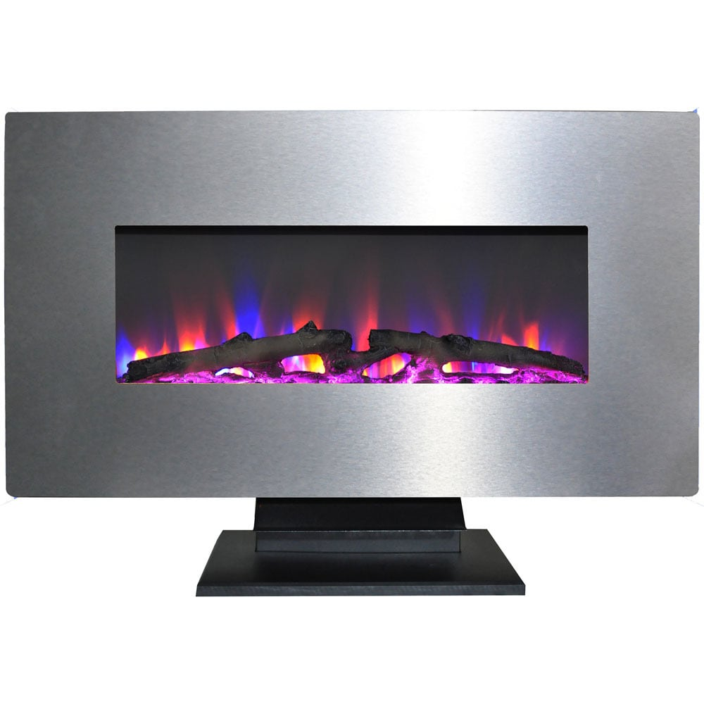 Cambridge 36 In. Metallic Electric Fireplace in Stainless Steel with Multi-Color Log Display (Stainless Steel)