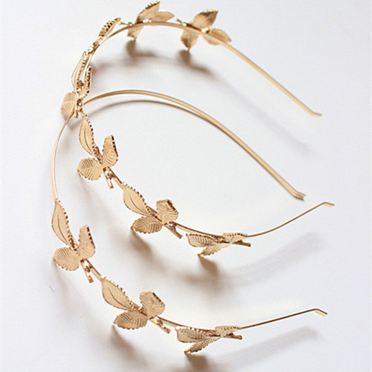 Vintage Headband Gold Leaves Plants Adjustable Headband Hair Ethnic Jewelry Accessories for Women
