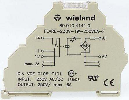 Wieland 0.5 A SPST Solid State Relay, DIN Rail, 53 V Maximum Load